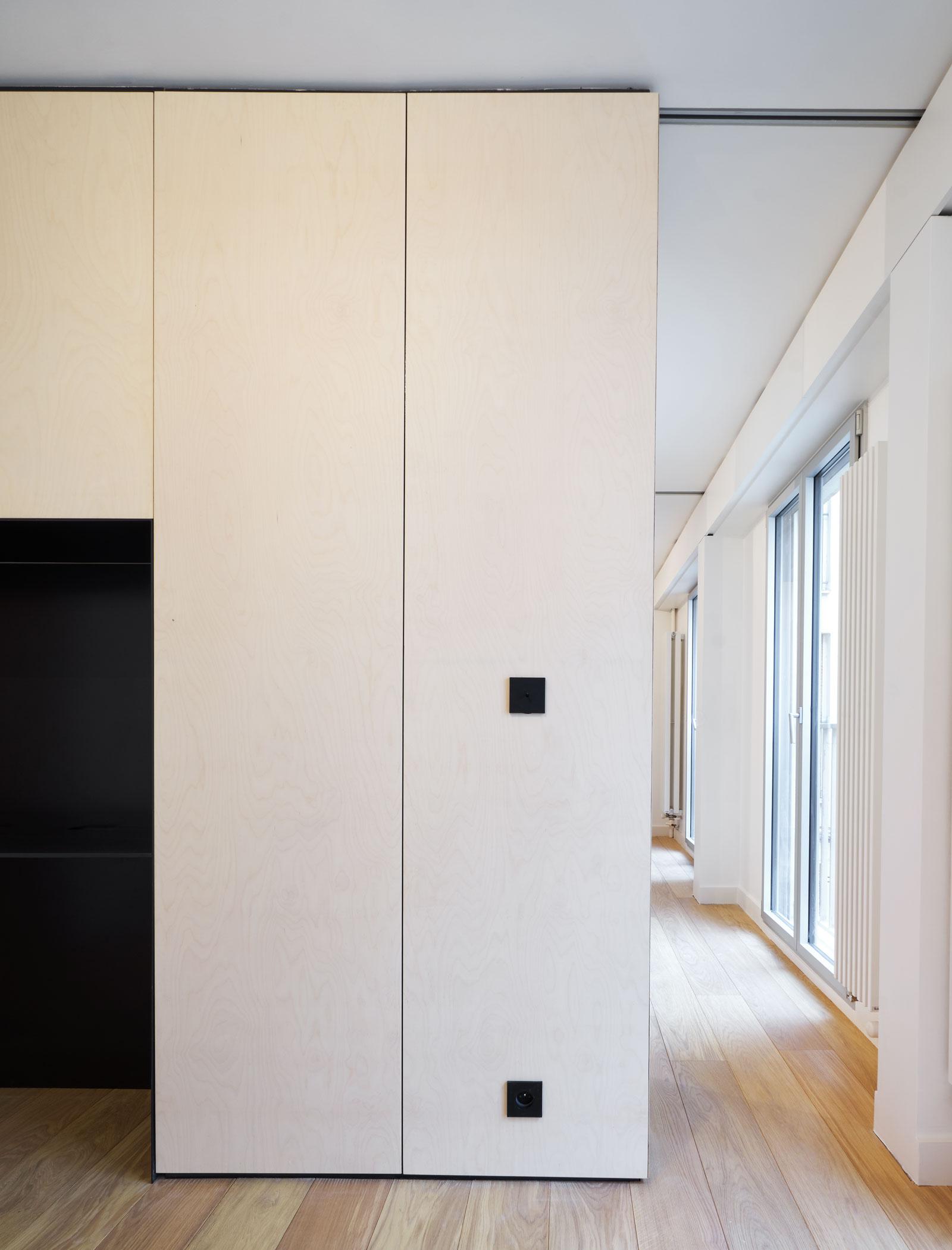 appartement B - heros architecture architecte intérieur parisien paris appartement logement rénovation réhabilitation extension restructuration minimaliste design épuré, porte coulissante, porte à galandage